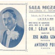 Música de colección: SALA MOZART - OH..! GRAN GILBERT - 1943 - PROGRAMA -10,2 X 30,2 CM.. Lote 218257388