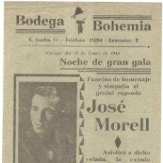 Música de colección: BODEGA BOHEMIA - ENERO 1943 - JOSE MORELL - MARÍA MORERA - 21,6 X 15,5 CM.. Lote 218257720