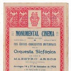 Música de colección: MONUMENTAL CINEMA. MADRID. DOS CONCIERTOS MATINALES. PROGRAMA. 1924. Lote 218361041