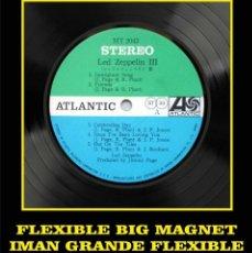Música de colección: LED ZEPPELIN III LABEL FLEXIBLE BIG MAGNET IMÁN GRANDE. Lote 220933748