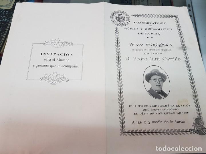 Música de colección: PROGRAMA CONCIERTO VELADA NECROLOGICA PEDRO JARA CARRILLO CONSERVATORIO MUSICA DE MURCIA 1927 - Foto 2 - 222005517