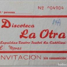 Música de colección: DISCOTECA LA OTRA GRANADA INVITACIÓN. Lote 224127450