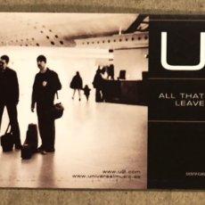 """Música de coleção: U2 """"ALL THAT YOU CANT LEAVE BEHIND"""" (2000). PEGATINA SIN USAR. 5 X 14 CMS.. Lote 224517877"""