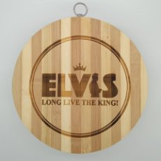 Música de colección: ELVIS PRESLEY LONG LIVE THE KING / TABLA DE MADERA DE COCINA PARA CORTAR PAN O DECORAR. Lote 230344470