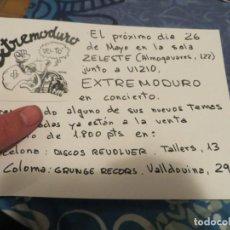 Música de colección: EXTREMODURO: FLYER PROMOCIONAL CONCIERTO BARCELONA (MUY RARO)!!!. Lote 234374710