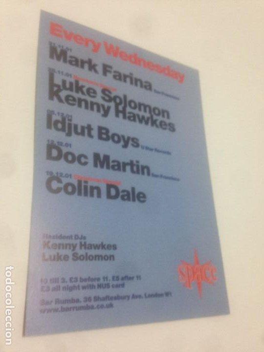 Música de colección: FLYER SPACE LONDON 2001-MARK FARINA-LUKE SOLOMON-KENNY HAWKES-IDJUT BOYS-DOC MARTIN-COLIN DALE - Foto 2 - 237012320