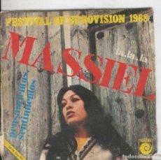 Música de colección: DISCO DE 45 R.P.M: MASSIEL: LA, LA, LA Y PENSAMIENTOS,SENTIMIENTOS. Lote 237307140