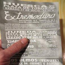 Música de colección: EXTREMODURO: FLYER CONCIERTO HUESCA 2004 - BARRICADA: JUNEDA 2004. Lote 238327675
