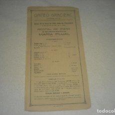 Musique de collection: ORFEO GRACIENC , RECITAL DE PIANO DE MARIA PUJAL . 25 MARÇ 1920. Lote 247493850