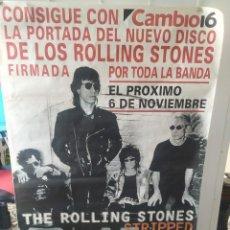 Música de colección: CARTEL THE ROLLING STONES - CONSIGUE CON CAMBIO16 LA PORTADA DE STRIPPED FIRMADA POR LA BANDA. Lote 248037305
