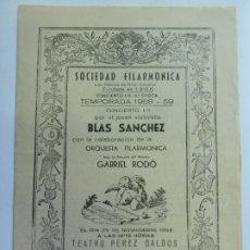 Música de coleção: SOCIEDAD FILARMÓNICA. AUTÓGRAFO Y DEDICATORIA DE BLAS SÁNCHEZ. LAS PALMAS 1958. Lote 252215810
