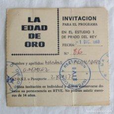Música de colección: INVITACIÓN PARA EL PROGRAMA LA EDAD DE ORO 1983, MOVIDA MADRILEÑA. Lote 253891765