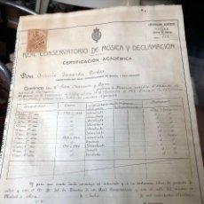 Musique de collection: MADRID CONSERVATORIO MUSICA CERTIFICACION PIANISTA CARTAGENA FIRMA TOMAS BRETON 1916. Lote 267039419