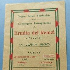 Musique de collection: ALCOVER TARRAGONA ERMITA DEL REMEI SEGON APLEC SARDANISTA COMARQUES TARRAGONINES 1930. Lote 267616219