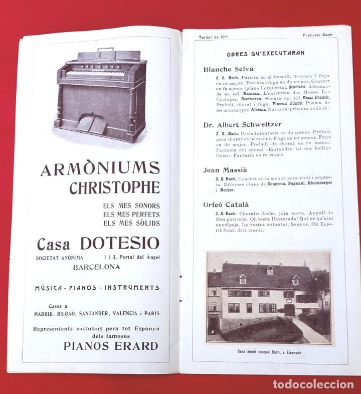 Música de colección: PROGRAMA - 1911 - FESTIVALS BACH - PROGRAMA GENERAL - PALAU DE LA MÚSICA - Foto 2 - 269313793