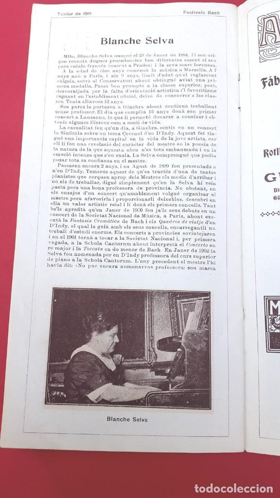 Música de colección: PROGRAMA - 1911 - FESTIVALS BACH - PROGRAMA GENERAL - PALAU DE LA MÚSICA - Foto 5 - 269313793