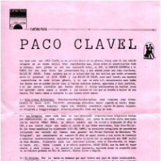 Música de colección: PACO CLAVEL - BAILES DE SALÓN - HOJA DE PRENSA SPAIN 1989 - PROD. TWINS. Lote 276564403