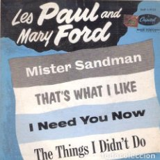 Música de colección: LES PAUL AND MARY FORD MISTER SANDMAN 45 RPM CAPITOL USA. Lote 289044723