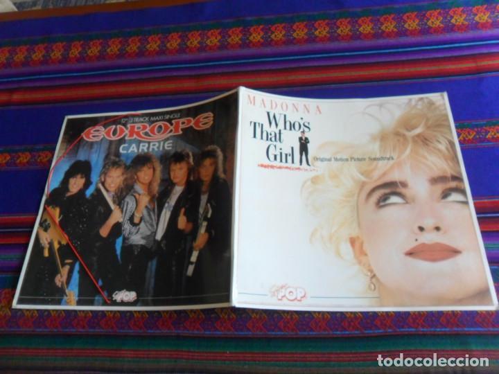 CARPETA SUPER POP IMITANDO DISCO DE VINILO MADONNA WHO´S THAT GIRL Y EUROPE CARRIE. 1987. (Música - Varios)
