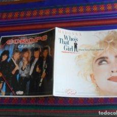 Música de colección: CARPETA SUPER POP IMITANDO DISCO DE VINILO MADONNA WHO´S THAT GIRL Y EUROPE CARRIE. 1987.. Lote 289603618