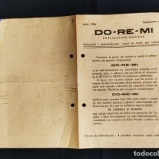 Música de colección: JUNIO 1926 - DO-RE-MI - PUBLICACION MUSICAL - SUPLEMENTO Nº 1 -. Lote 292538118