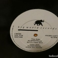 Música de colección: CAJJ151 MAXI SINGLE MUSICA ELECTRONICA RUBBERMAN BOYS OWN MIX ESTADO GENERAL DECENTE. Lote 295587528