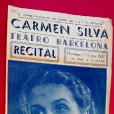 Música de colección: CARTEL - 1937 - TEATRO BARCELONA - CARMEN SILVA. Lote 297033853