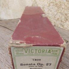 Música de colección: ROLLO PIANOLA MARCA VICTORIA 1809. SONATA OPUS 27. BEETHOVEN.. Lote 297257123