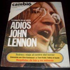 Fotos de Cantantes: RECORTE CAMBIO 16 ( PORTADA Y 3 HOJAS ) - DICIEMBRE 1980 - ASESINATO DE JOHN LENNON. Lote 28375691