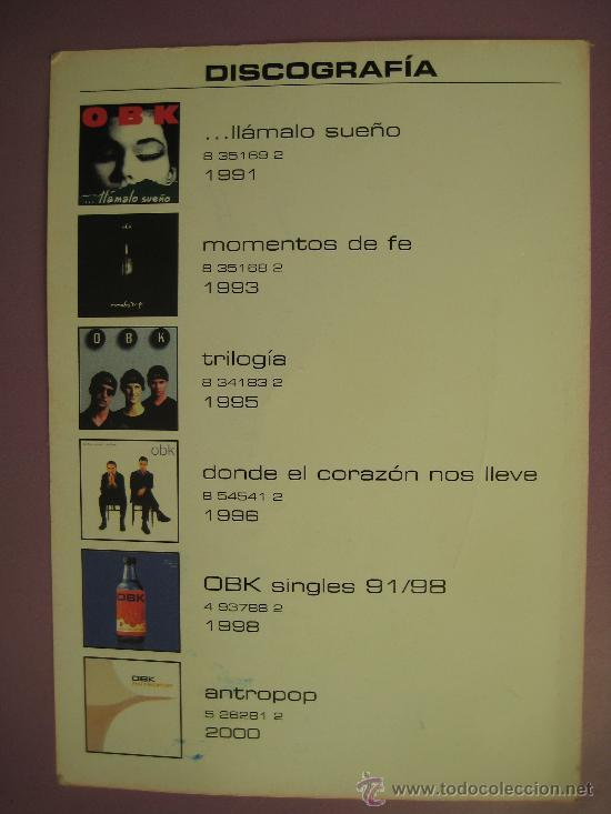 Fotos de Cantantes: OBK, POSTAL FIRMADA AÑO 2000, - Foto 4 - 33646922