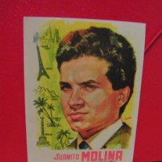 Fotos de Cantantes: + JUANITO MOLINA. IMITADOR DE ANTONIO MOLINA. ANTIGUA HOJITA CON SU DISCOGRAFÍA.. Lote 34575596