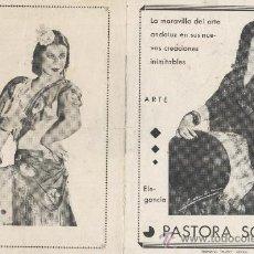 Fotos de Cantantes: DIPTICO. PASTORA SOLER. EDITORIAL ELUCO, MURCIA. CANCIONERO: LA NOVIA DEL SOL, MUJER, VARGAS HEREDIA. Lote 34156246