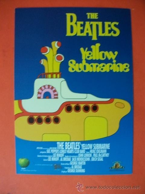 Tarjeta Invitacion Tamaño Postal Reestreno De Yellow Submarine Beatles España