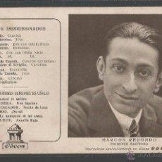 Fotos de Cantantes: MARCOS REDONDO - BARÍTONO - DISCOS ODEON - POSTAL PUBLICITARIA - P10074. Lote 50626958