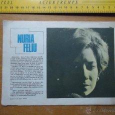 Fotos de Cantantes: HOJA PUBLICITARIA - 1959 A 2 CARAS . CANTANTE NURIA FELIU. Lote 53078928