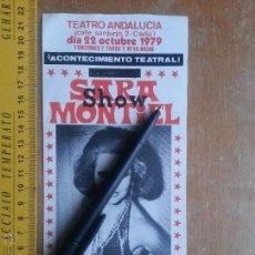 Fotos de Cantantes: SARA SARITA ZARA MONTIEL EN CADIZ 1979 SHOW SARITISIMA TEATRO ANDALUCIA FOLLETO MANO ORIGINAL . Lote 53728246