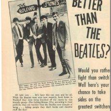 Fotos de Cantantes: ¿LOS ROLLING STONES MEJOR QUE LOS BEATLES? (1964) + PUZZLE BEATLES (1965). Lote 56333163
