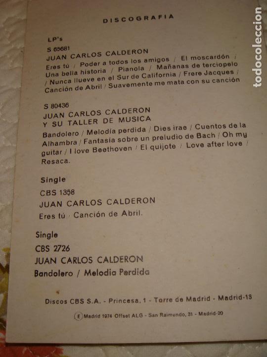 Fotos de Cantantes: FOTO/POSTAL DE JUAN CARLOS CALDERON COMPOSITOR - EN COLOR - MEDIDA 15 X 10 CTMS - Foto 2 - 74751447