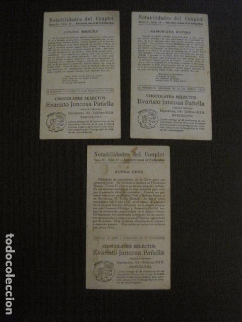 Fotos de Cantantes: NOTABILIDADES DEL CUPLE - COUPLET -COLECCION COMPLETA 15 CROMOS -CHOC. JUNCOSA-VER FOTOS- (V-12.427) - Foto 10 - 101484055