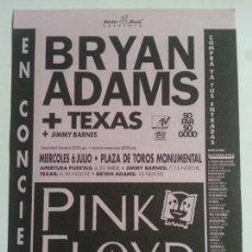 Fotos de Cantantes: FLYER PINK FLOYD BRYAN ADAMS TEXAS CONCIERTO BARCELONA 1993. Lote 121915290