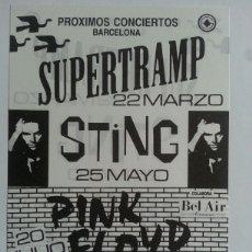 Fotos de Cantantes: FLYER PINK FLOYD STING SUPERTRAMP CONCIERTO BARCELONA 1988. Lote 121915938