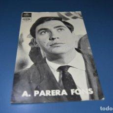 Fotos de Cantantes: TARJETA POSTAL SIN CIRCULAR - CANTANTE A. PARERA FONS - DISCOS REGAL Y EMI. Lote 127780063
