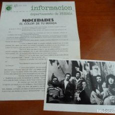 Fotos de Cantantes: MOCEDADES FOTO ORIGINAL ANTIGUA AÑOS 70 CON HOJA DE LA DISCOGRAFICA. Lote 128280815