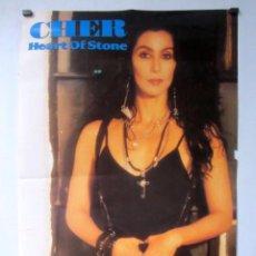 Fotos de Cantantes: CHER, HEART OF STONE (1989). CARTEL ORIGINAL PROMOCIONAL DEL ÁLBUM. 51 X 76 CMS.. Lote 128432327