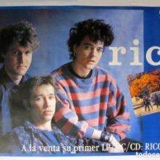 Fotos de Cantantes: RICO. NACHO GARCÍA VEGA, FERNANDO ILLAN, CARLOS BROOKING-CARTEL ORIGINAL PROMOCIONAL 1990. EX NACHA. Lote 128434371