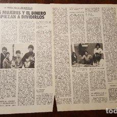 Fotos de Cantantes: RECORTES DE REVISTA (CLIPPING) - LA TRAGICA VIDA DE LOS BEATLES - 8 HOJAS. Lote 131992714