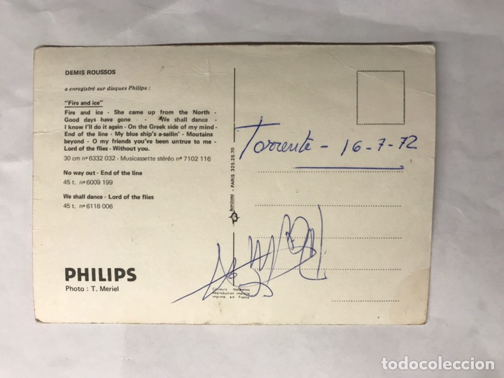 Fotos de Cantantes: DEMIS ROUSSOS. Postal publicitaria Philips (a.1972) - Foto 2 - 139383170
