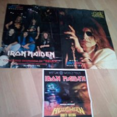 Fotos de Cantantes: 2 POSTERS IRON MAIDEN 1993 DE LA REVISTA METAL HEVY ROCK Y OTRO DE VIRTUAL WOLD TOUR. Lote 143690758