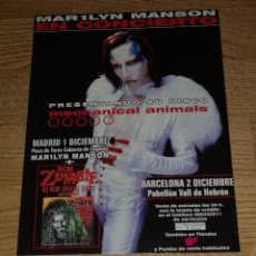 Fotos de Cantantes: MARILYN MANSON PROMO POSTER DISPLAY STAND TOUR SPAIN 1998,27X20+TICKET CONCERT -RAMMSTEIN. Lote 151557546
