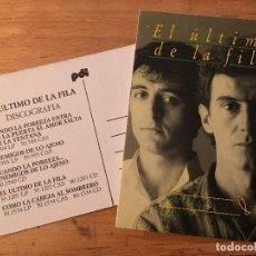 Fotos de Cantantes: EL ÚLTIMO DE LA FILA. 2 POSTALES PROMOCIÓN IGUALES.. Lote 246454180